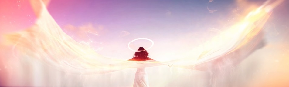 Female angel standing barefoot on a jetty overlooking the ocean with wings in the form of billowing white fabric with motion blur with a halo and colorful sun flare effects, conceptual spiritual image